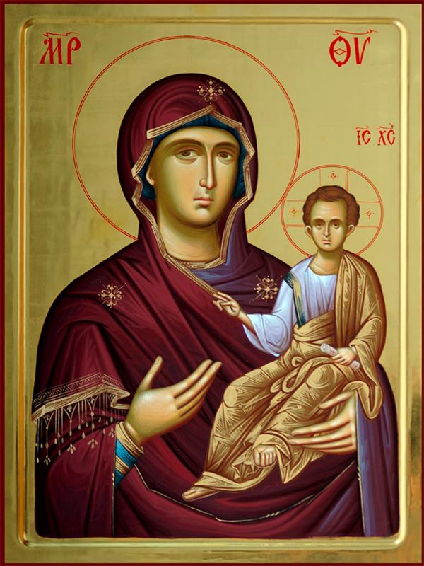 Bogorodica Odigitrija 70х50, ikona ručno oslikana u ikonografskoj radionici manastira Žiče